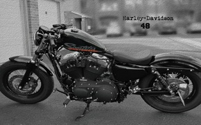 Картинка Harley-Davidson, black and white, crack, forty-eight, crevice