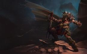 Обои поза, ветер, меч, шипы, Воин, плащ
