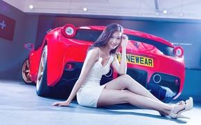 Картинка Girl, Ferrari, Red, Legs, 458, Model, Studio, Italia, Dress, Rear, Korean