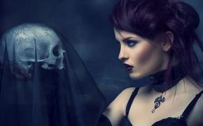 Картинка skull, sorrow, purple, veil, mistery, dragon girl