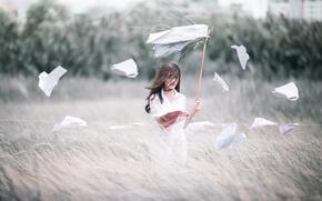 Обои поле, девушка, ветер