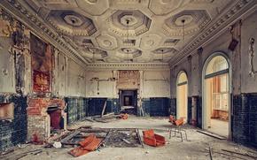 Картинка room, palace, fireplace, abandoned, hall, salon, mess, white eagle