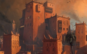 Обои дым, небо, Age of Conan, дома, восток