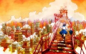 Картинка небо, мечта, облака, город, башня, дома, лестница, ступени, школьница, сумка, бежит