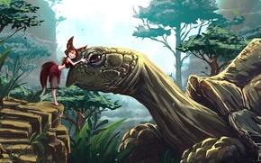 Картинка лес, радость, природа, черепаха, girl, Art, Katrin, симпатия, kitsune, Kate-FoX