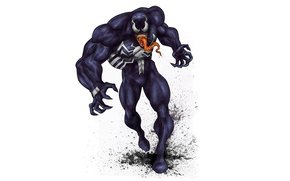 Картинка язык, монстр, светлый фон, комикс, зубастый, Spider-Man, Веном, Venom, Симбиот