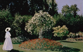 Картинка лето, небо, деревья, природа, зонтик, женщина, тень, сад, платье, Sainte-Adresse, цвты, Woman in the Garden, …
