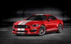 Картинка красный, рендеринг, Mustang, Ford, мустанг, red, мускул кар, форд, muscle car, rendering, GT350, by Gurnade