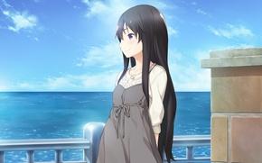 Картинка море, девушка, облака, улыбка, перила, hana wa oritashi kozue wa takashi