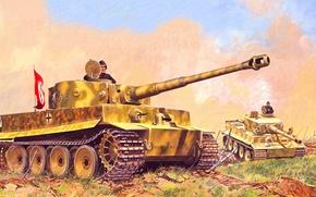 Картинка war, art, painting, tank, ww2, Panzerkampfwagen VI Tiger