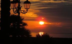 Картинка море, пейзаж, закат, фонари