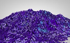 Картинка отражение, гора, горка, кубик, куб, рельеф
