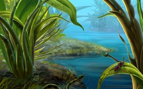 Картинка вода, зеленый, змея, жук, Трава