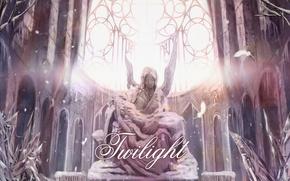 Картинка свет, снег, текст, женщина, крылья, ангел, перья, церковь, Скульптура