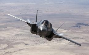 Картинка земля, истребитель, полёт, бомбардировщик, F-35B, Lockheed Martin