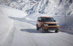 Картинка зима, снег, горы, движение, скорость, трасса, Land Rover, Discovery, 2015, Landmark