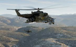 Картинка горы, вертолёты, полёт, Ми-24П