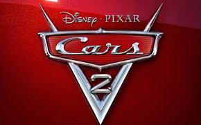 Обои disney, тачки 2, хром, эмблема, мультфильм, pixar, cars 2, красный перламутр