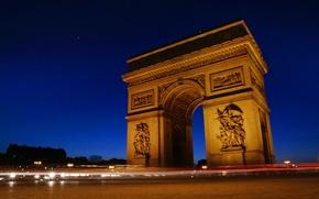 Картинка France, Paris at night, Arc De Triomphe