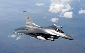 Обои Военная, Fighting, Полет, Небо, Авиация, Многоцелевой, Облака, F-16, Falcon, Высота, Истребитель