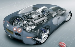 Обои схема, чертеж, двигатель, Bugatti, Veyron