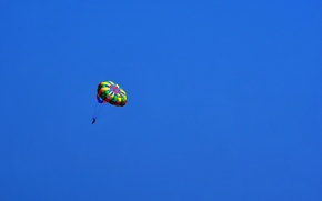 Обои спорт, небо, in blue, парашютист, minimalism