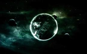 Обои луны, планета, черный