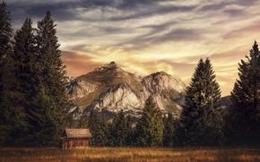 Картинка горы, дом, обработка, Country residence