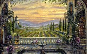 Картинка поле, деревья, цветы, туман, гитара, картина, Италия, фонтан, домики, Robert Finale, часовня, дворик, балконы