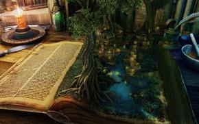 Картинка вода, пейзаж, стол, дерево, магия, дома, свеча, нож, книга