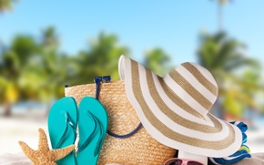 Картинка шляпа, очки, accessories, vacation, сумка, отдых, beach, пляж, песок, каникулы, summer, starfish, лето, солнце, сланцы