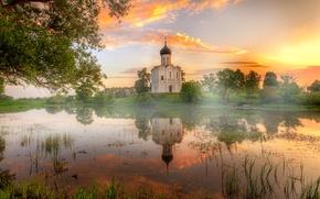 Картинка храм, Владимир, Нерли, летний рассвет