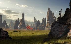 Картинка трава, скалы, поселение, concept art, inquisition, dragon age 3