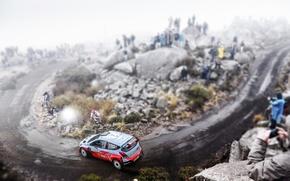 Картинка Авто, Туман, Скалы, Спорт, Машина, Скорость, Люди, Занос, WRC, Rally, Ралли, i20, Hyundau