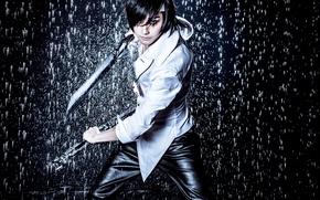 Картинка оружие, дождь, игра, парень, косплей, Hero Warz