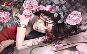 Картинка girl, tatoo, roses, a drawing