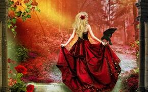 Картинка листья, девушка, деревья, цветы, птица, волосы, спина, роза, шлейф, арт, блондинка, корсет, ворон, красное платье, …