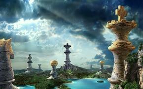 Картинка лес, небо, природа, озеро, камень, водопад, шахматы, шахматные фигуры