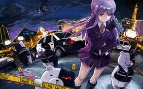 Картинка девушка, кровь, полиция, аниме, убийство, арт, girl, ночной город, детектив, anime, вегас, преступление, monokuma, kirigiri …