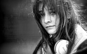 Картинка девушка, наушники, street walk, in music