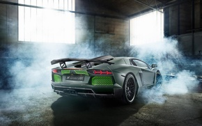 Картинка Lamborghini, Green, Smoke, LP700-4, Aventador, 2014, Limited, Rear, HAMANN