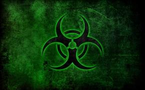 Обои опасность, знак, зелёный, эмблема, биологическое заражение