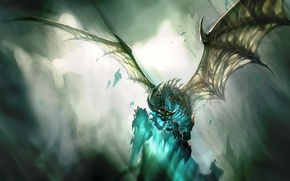 Картинка Дракон, синий, скелет, свет, крылья