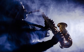 Картинка smoke, musician, saxophone