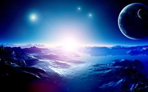 Картинка небо, свет, горы, вселенная, звезда, планета, рельеф