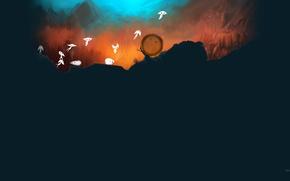 Картинка трава, полет, горы, рисунок, духи, арт, Spirits