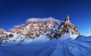 Картинка зима, небо, снег, пейзаж, природа, скалы, Горы