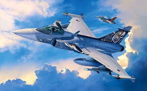 Картинка fighter, war, art, airplane, painting, aviaiton, Saab JAS-39C GRIPEN.jet