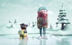 Картинка зима, птица, мальчик