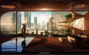 Картинка девушка, город, комната, дерево, вид, окно, панорама, помещение, Room with a View